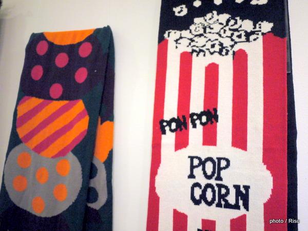 MoMA ポップコーンスカーフブラック、アイスクリームスカーフピンク