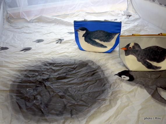 ペンギン連れのお出かけランチトートバッグ