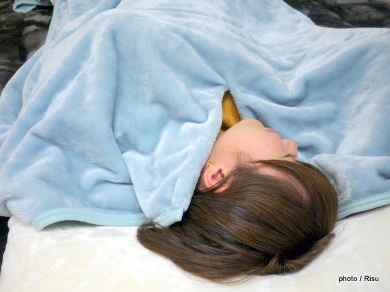 ふんわりとろけるようなくり襟タイプのロング毛布(BELLE MAISON DAYS)